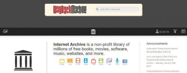インターネットアーカイブのTOP画面