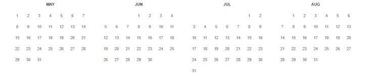 ウェイバックマシンのカレンダー
