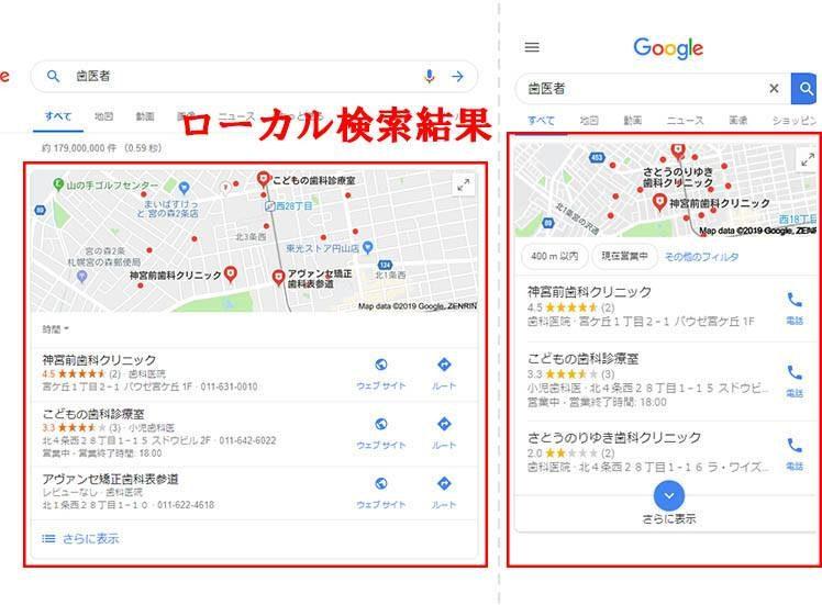 「歯医者」で検索した時の検索結果(左がパソコンのブラウザを使った検索結果、右がスマートフォンのブラウザを使った検索結果)