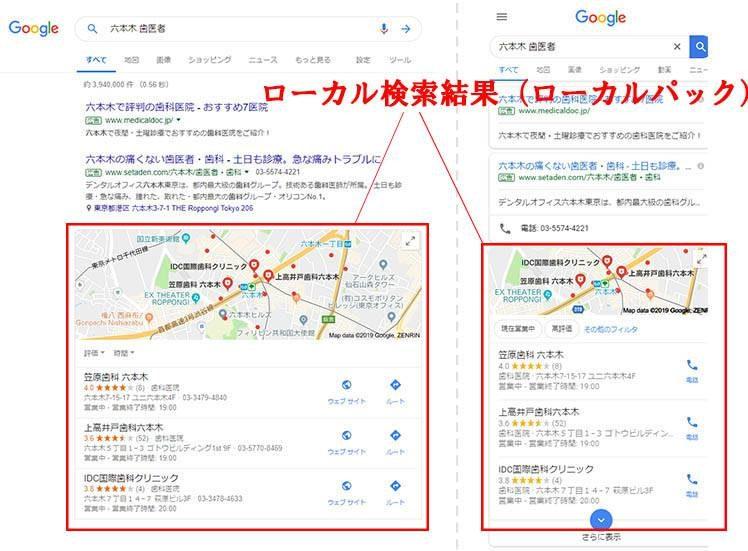 「六本木 歯医者」で検索した時の検索結果のスクリーンショット(左がパソコンのブラウザを使った検索結果、右がスマートフォンのブラウザを使った検索結果)