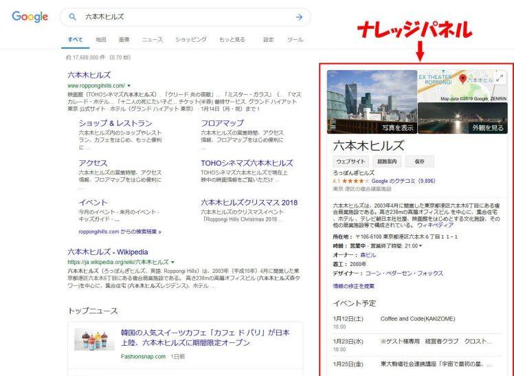 検索キーワード「六本木ヒルズ」で検索した時の検索結果のスクリーンショット(パソコンのブラウザを使った検索結果)