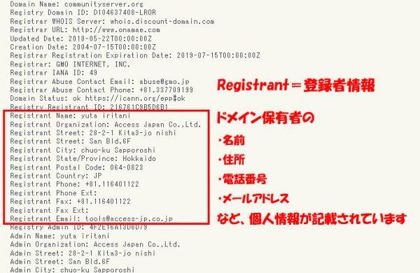 Tech-Unlimitedのツール「whois検索」の検索結果のスクリーンショット(ドメイン保持者の個人情報が掲載しているwhois情報)