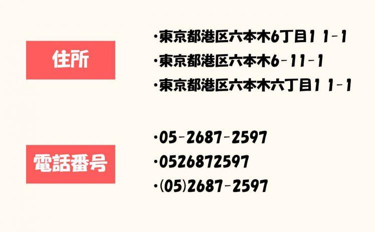 NAP情報で住所や電話番号の表記が一致していない例