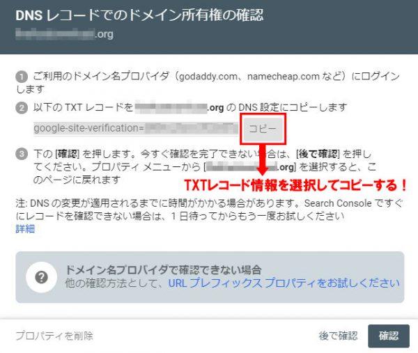 ドメインプロパティでDNSレコード確認する場面