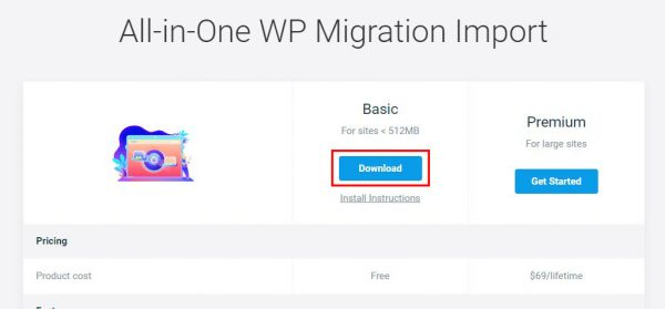 All-in-One WP Migration Importのページ画面