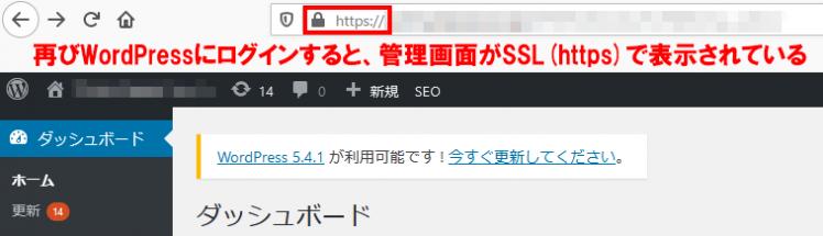 WordPressの管理画面がSSLで表示されているところ