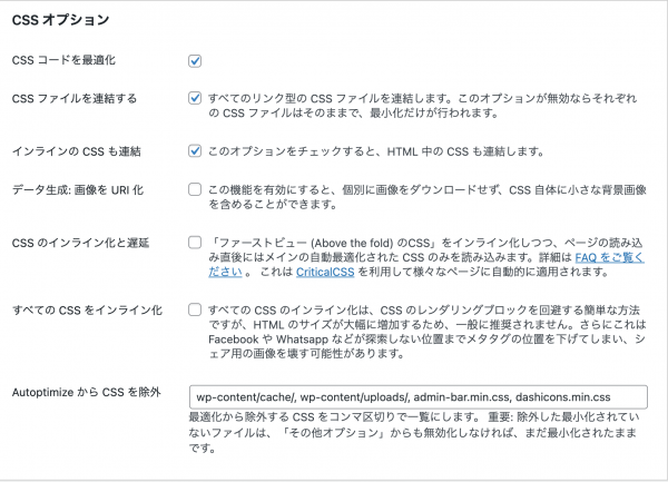 CSSオプションの画面