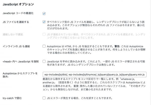 JavaScriptオプションの画面